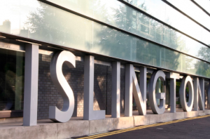an image of large sculpted letters that spell Islington